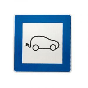 elektromos autó kresz tábla